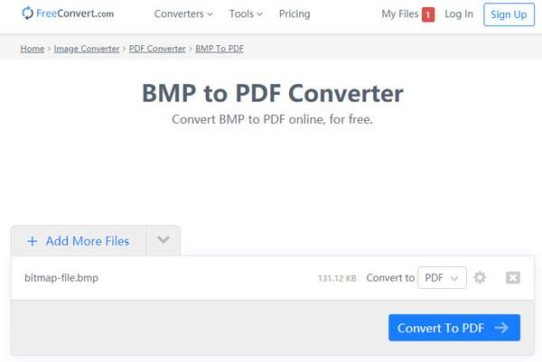 BMPをPDFに無料変換