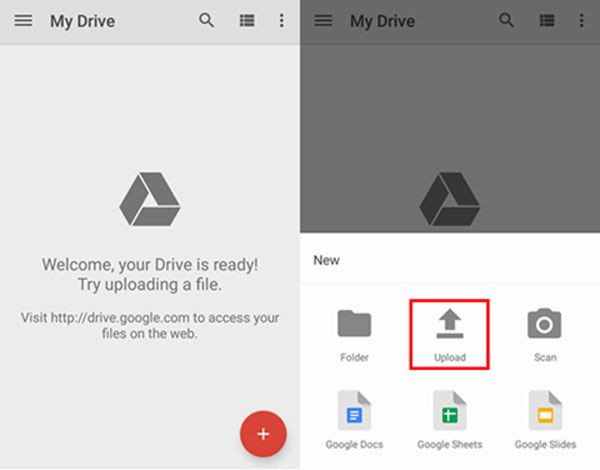 google drive android choisissez upload