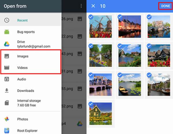 google drive android sélectionnez des photos