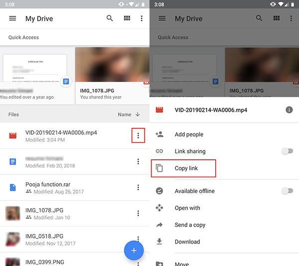 Lien de copie de Googlr Drive