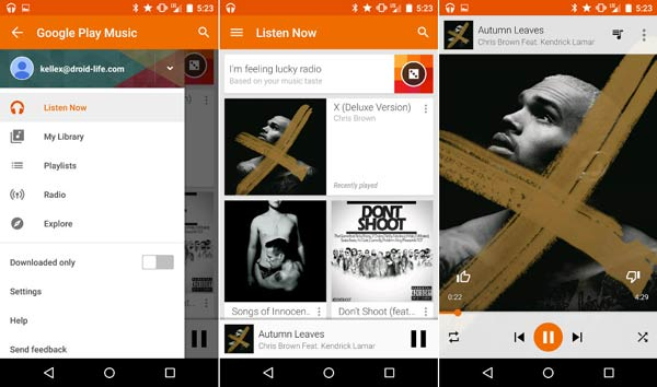 Googleの音楽を再生