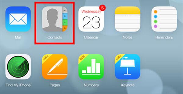 iCloudアクセスの連絡先