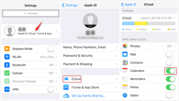 iCloud Switch Calendars on