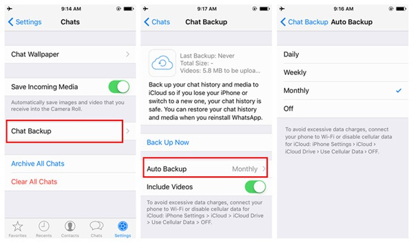 iCloud WhatsApp Backup Auto Backup
