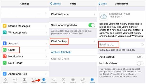 iCloud WhatsApp Backup-Nachricht