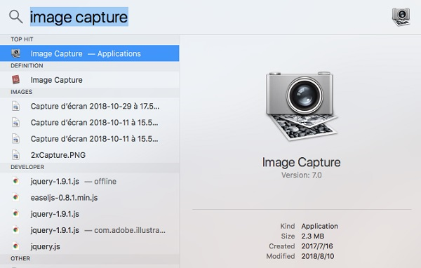 Image Capture in Spotlight