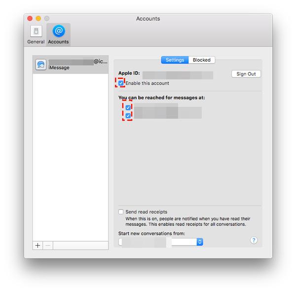 Paramètres iMessages sur mac