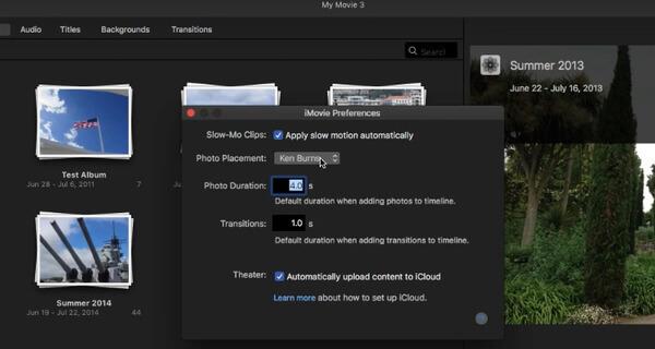 Préférences iMovie