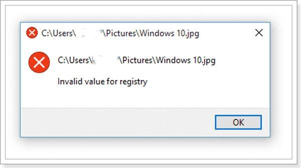 Ungültiger Wert für die Registrierung