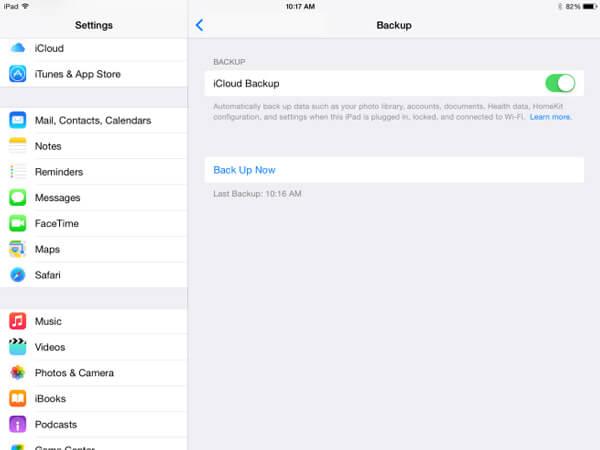 Резервное копирование iPad