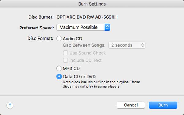 Paramètres de gravure iTunes