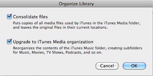iTunes konsolidieren Dateien