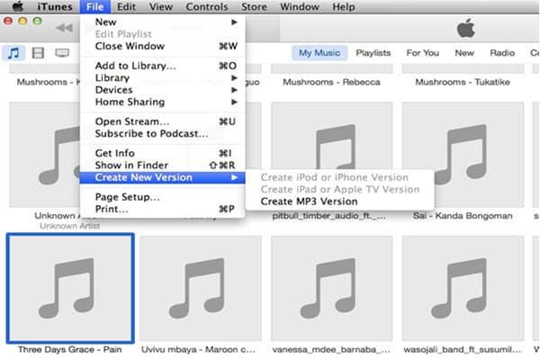 iTunes crée une version mp3