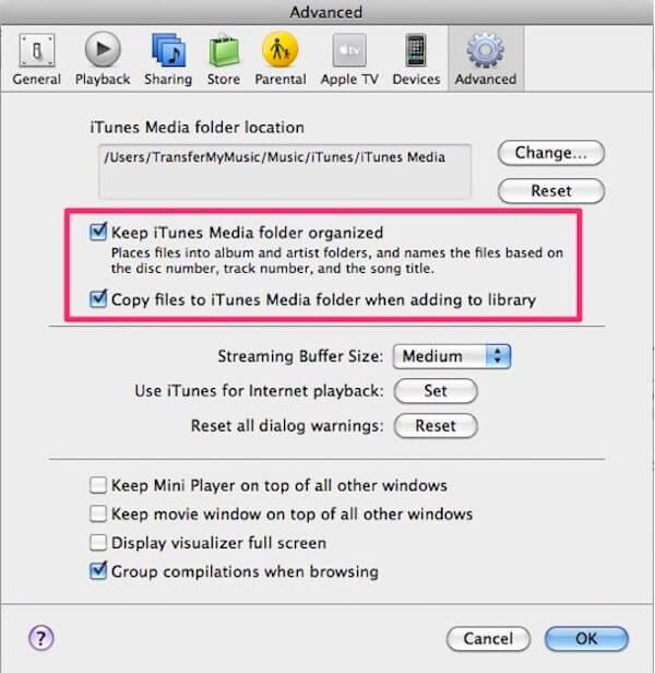 iTunes-Bibliothek organisiert