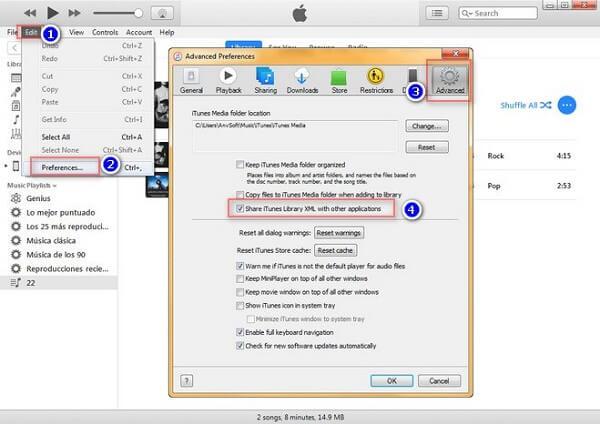 Réglage iTunes