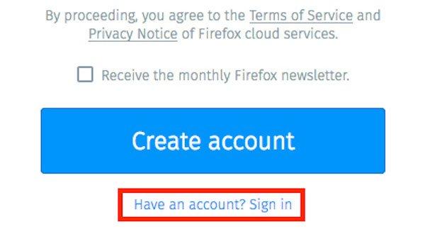 Firefox Syncにログインします。