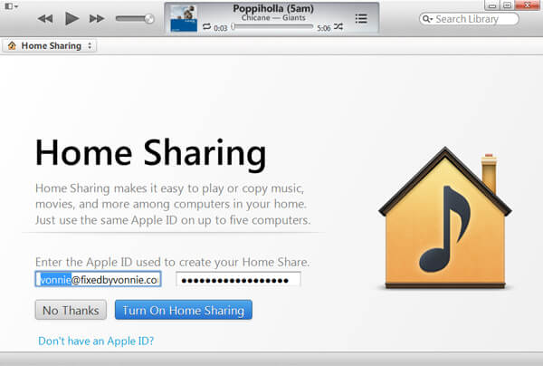 Log in iTunes Home Sharing