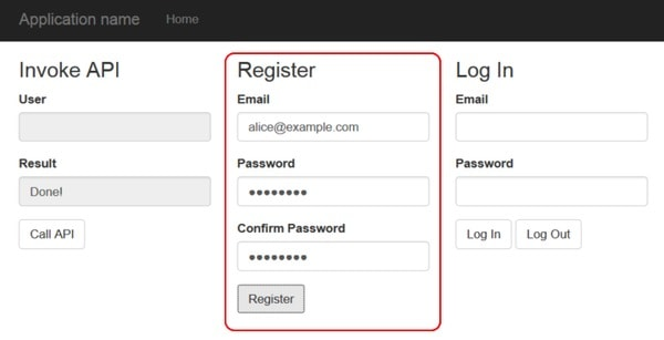 Log Out and Log in the Application