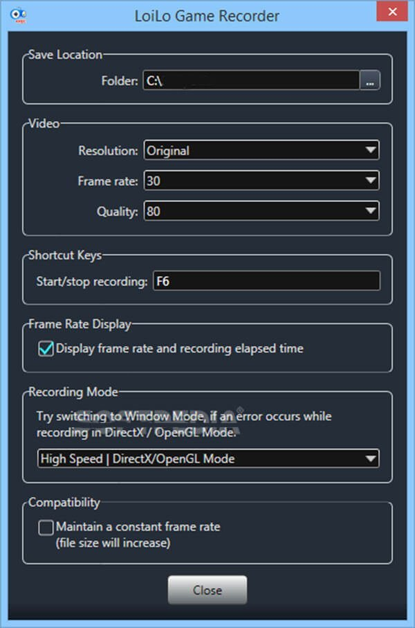 Paramètre d'enregistrement de l'enregistreur de jeu LoiLo