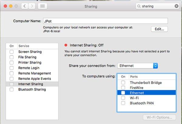 Mac Internetfreigabe
