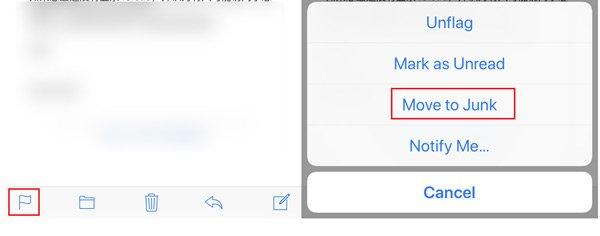 メッセージを迷惑メールに移動する