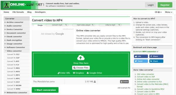 Online Video zu MP4 Konverter