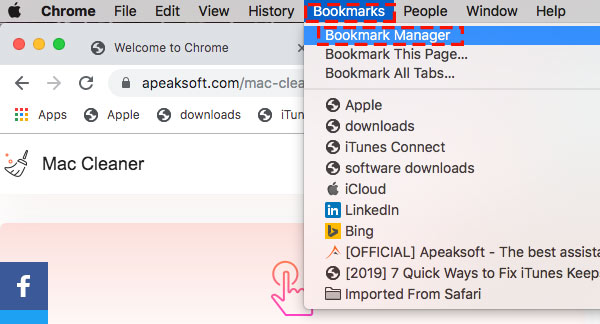 Open bookmark manager chrome on mac