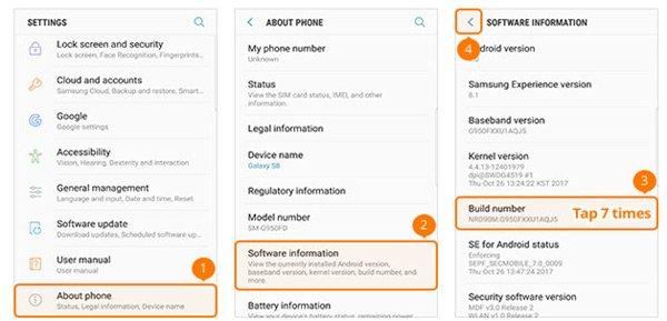 オープン開発者向けオプションSamsung GalaxyS8