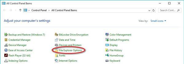 ファイルエクスプローラーのオプションを開く