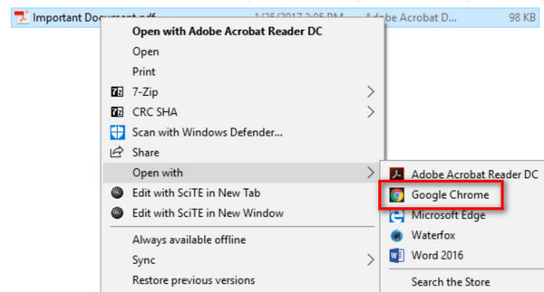 Ouvrir avec Chrome