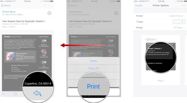 Imprimer des messages texte depuis votre iPhone par courrier électronique