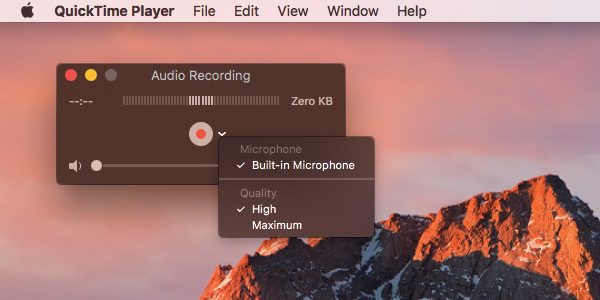 Quicktime audio recording interface