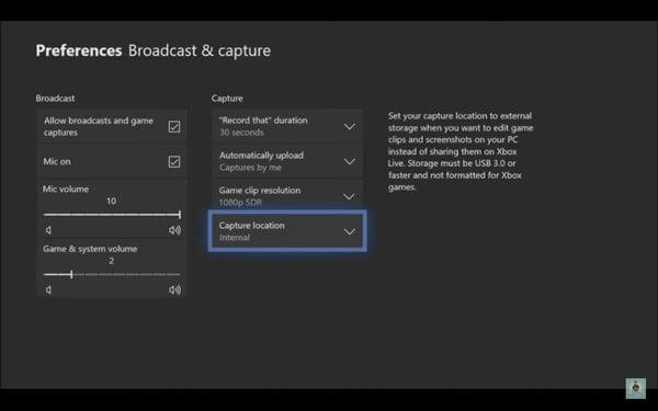 Enregistrer le gameplay par défaut Xbox One