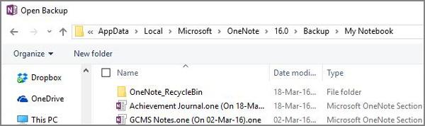 バックアップからOnenoteファイルを回復する