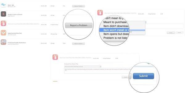 Rembourser Choisir un problème Capture d'écran Mac