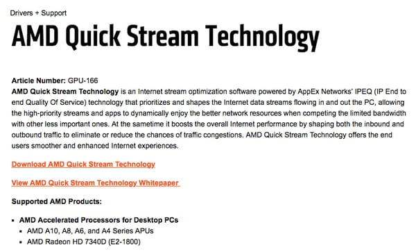 AMD Quick Stream Technologyを再インストールします。