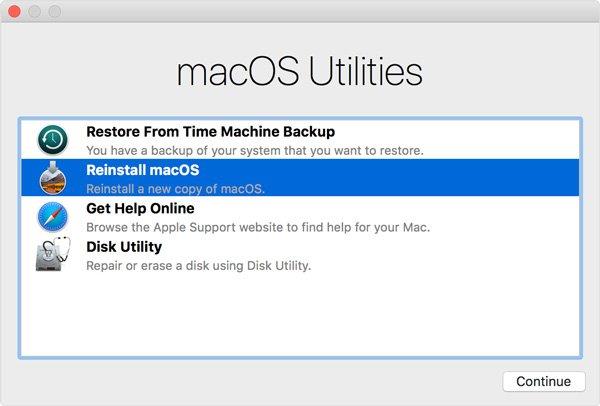 Réinstaller le bouton Macos