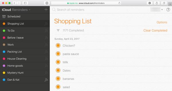 Supprimer les listes de rappel via iCloud