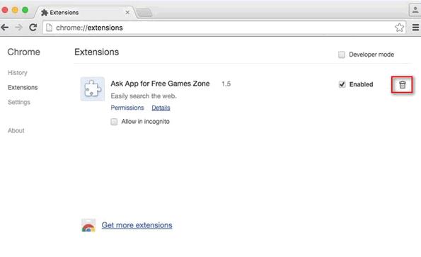 chrome extensions macを削除します。