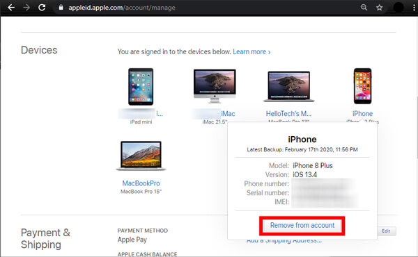 Remove Device from Apple ID on A Browser
