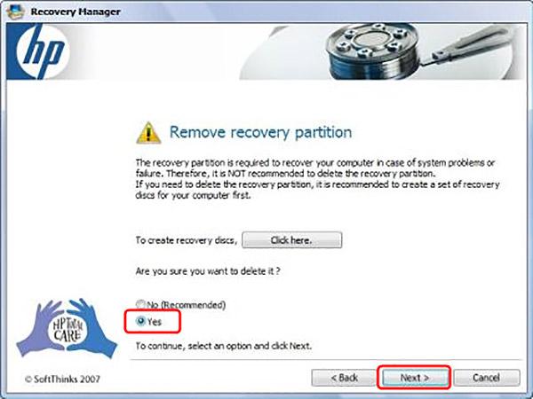 HPラップトップのリカバリパーティションを削除します