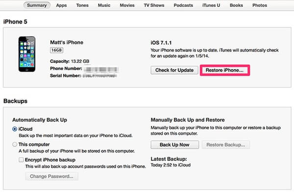 Reset Locked iPhone with iTunes