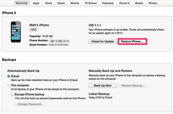 Сброс iPhone с помощью iTunes