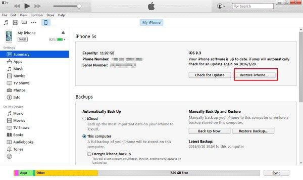 Restriktionskennwort zurücksetzen iTunes
