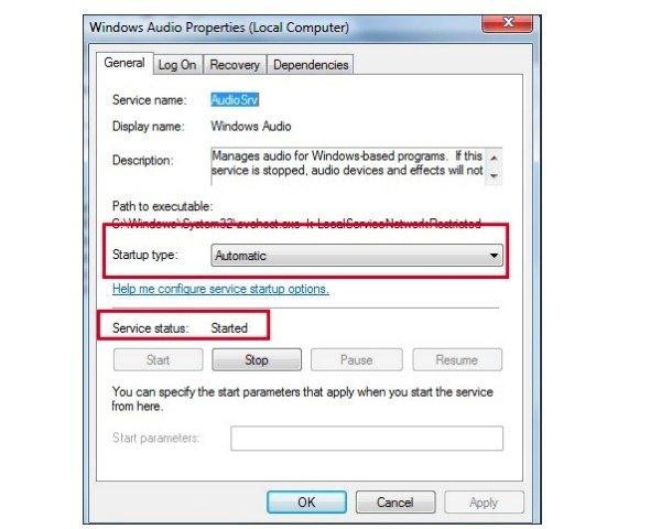 Redémarrage des services audio