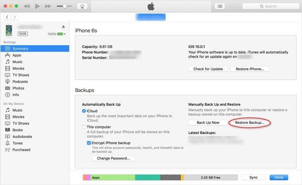 Wiederherstellen von Apps von iTunes Backup