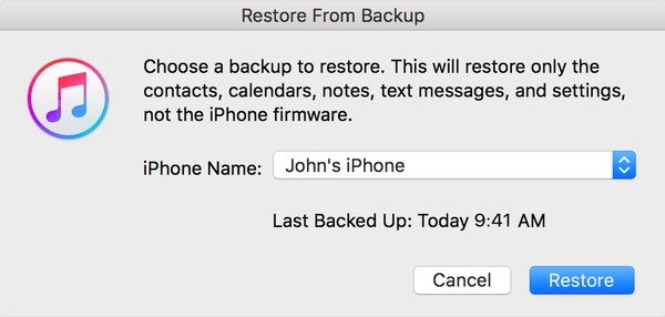 Récupérer à partir de sauvegarde iTunes