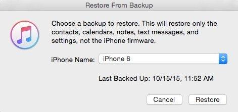 Restaurer à partir d'iTunes Backup