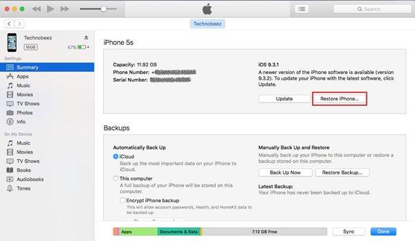 IPhone mit iTunes zurücksetzen