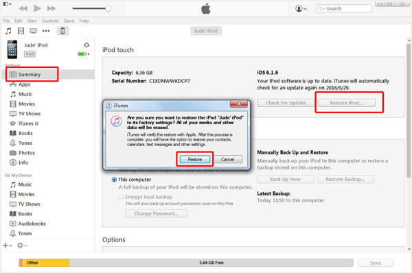 Restaurer l'iPod iTunes